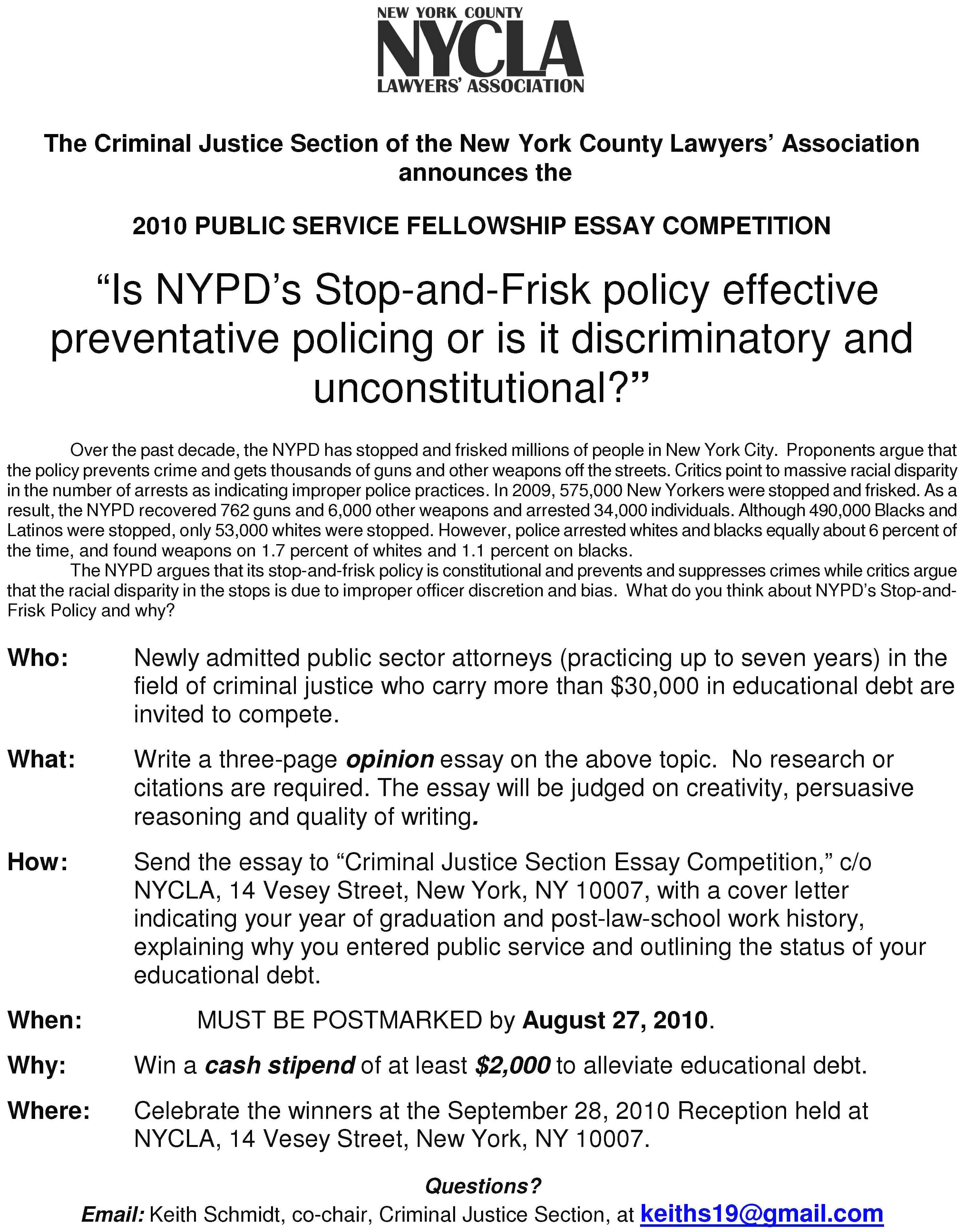 nypd essay contest For more information:     andy wolk (the sopranos, the practice, nypd blue, the defenders,  equal  the goldstein prize is an annual award/writing scholarship for a  current.